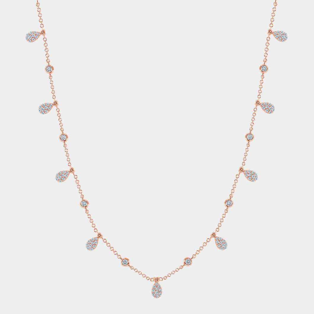 Rose Gold Pear Shape Diamond Drop Station Necklace