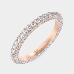 White Gold 3 Row Pave Diamond Band