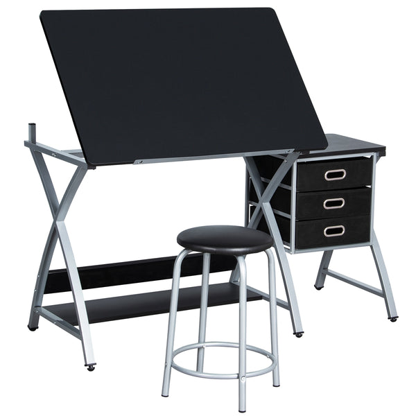 Multifunctional Drawing Desk with Stool