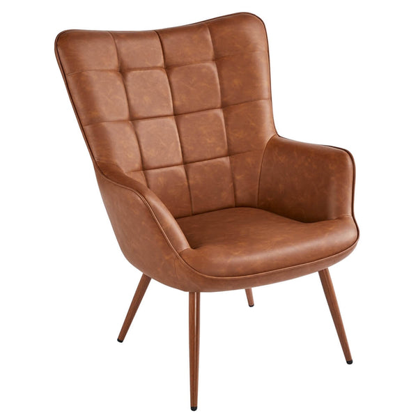 faux leather wingback chair