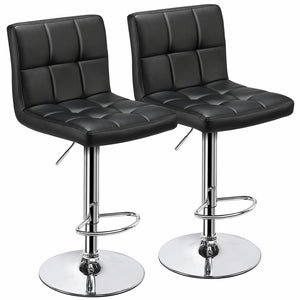 2PCS Adjustable Modern PU Leather Swivel Office Chairs-Costoffs