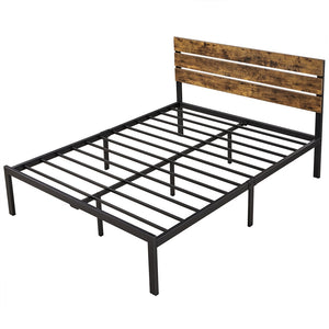 Rustic Style Queen Size Platform Metal Bed Frame-Costoffs