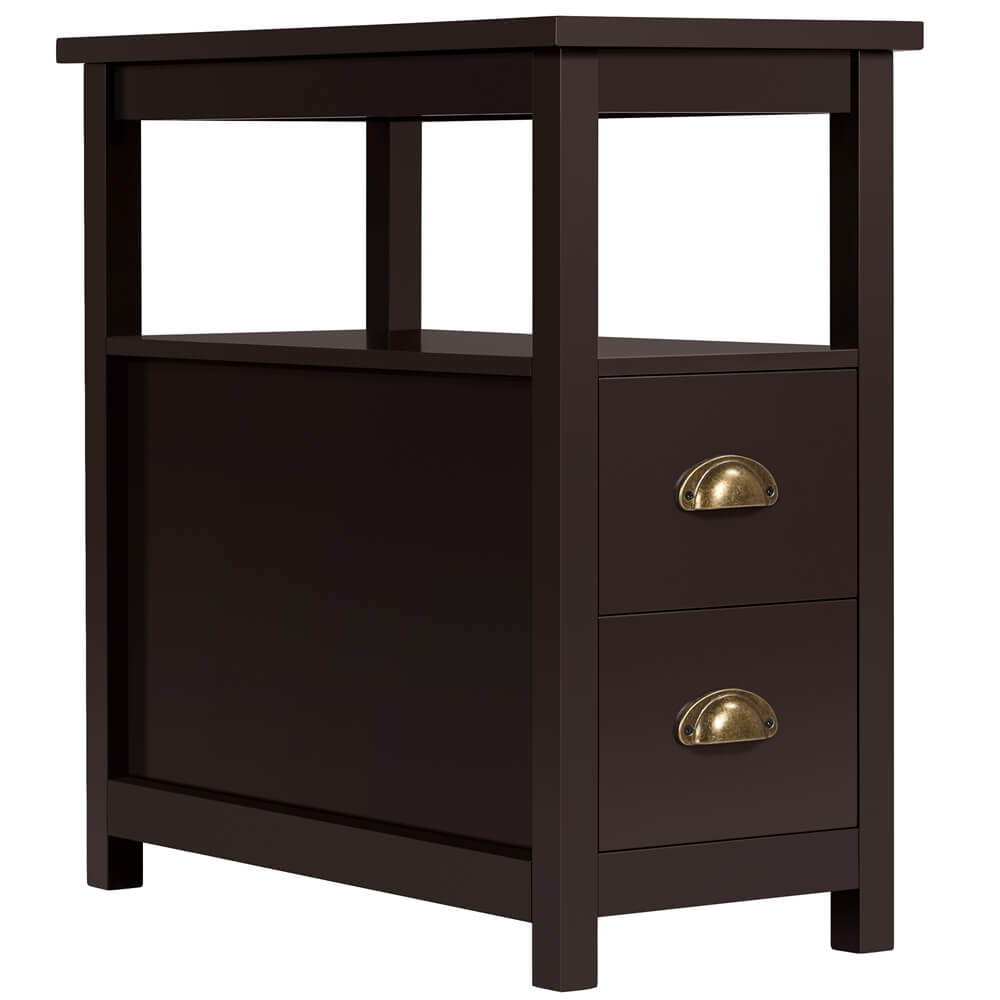 Chairside End Table with 2 Drawer and Shelf-Costoffs