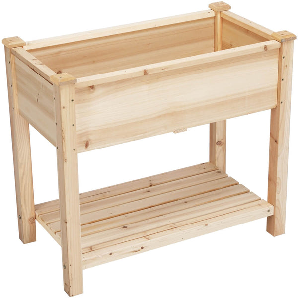 Wooden Raised Flower Garden Bed Kit with Shelf-Costoffs