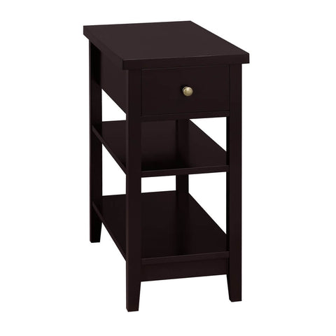 Sofa Side End Table with 1 Drawer Double Shelves -Costoffs
