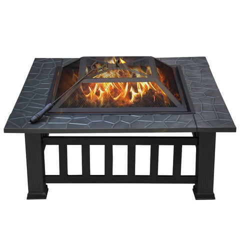 32 Inch Square Metal Firepit-Costoffs