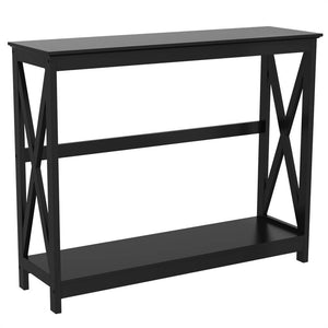 2 Tier Console Sofa Side Table Bookshelf-Costoffs