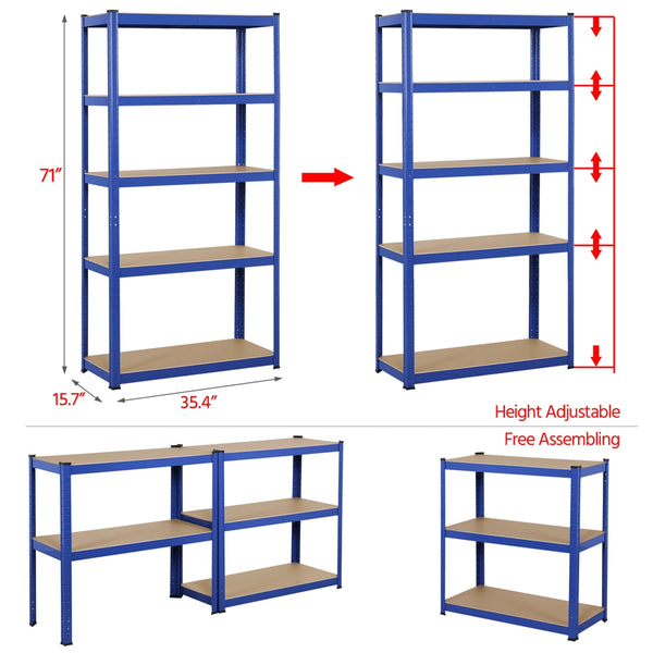 Heavy Duty Metal 5-Tier Storage Shelves