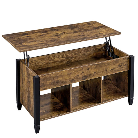 Rustic Lift Top Coffee Table with Hidden Compartment&Shelf-Costoffs