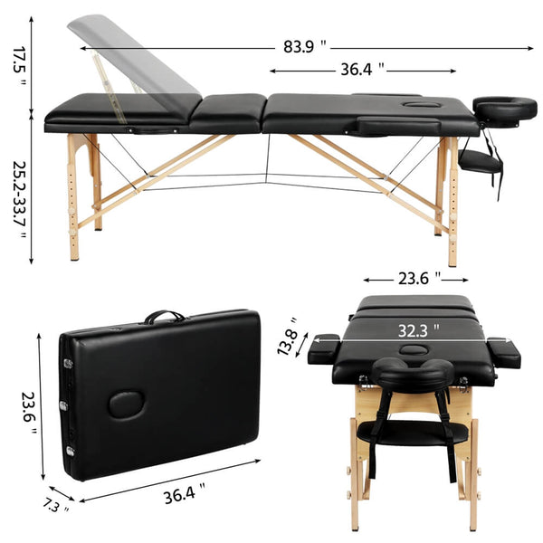 Adjustable 3 Fold Portable Massage Spa Bed Therapy-Costoffs