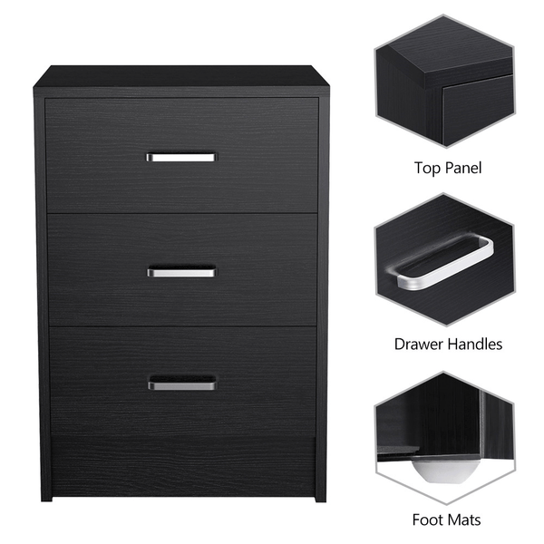Night Stand with 3 Drawers-Costoffs