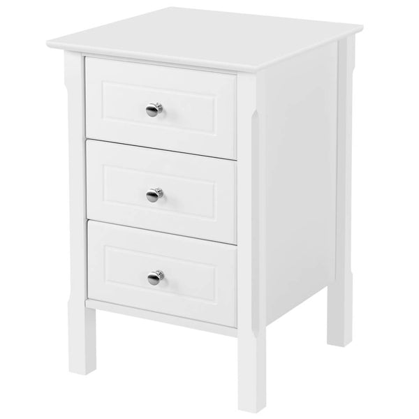 Wood Nightstand 3 Drawers Bedside Table Cabinet-Costoffs