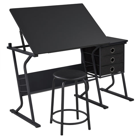 Adjustable Drafting Table Drawing Table Desk with Stool and Storage Drawers-Costoffs