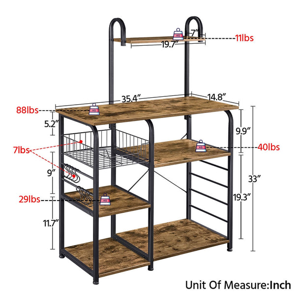 35.5 Inch Bakers Rack-Costoffs