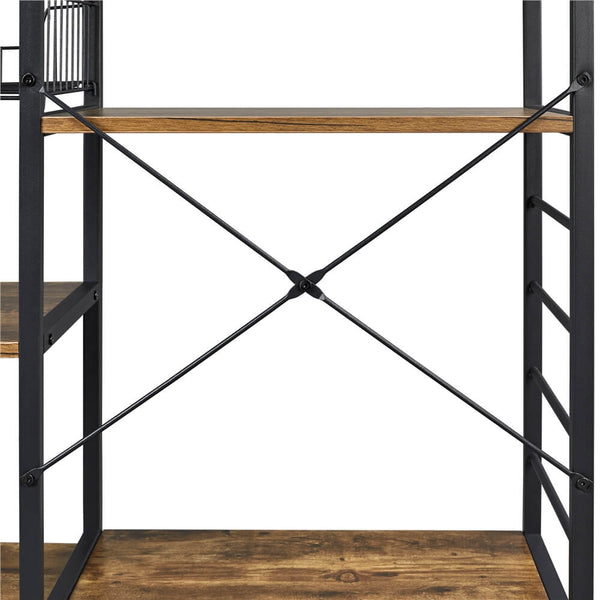 Multifunctional Kitchen Rack with Basket 6 Hooks-Costoffs