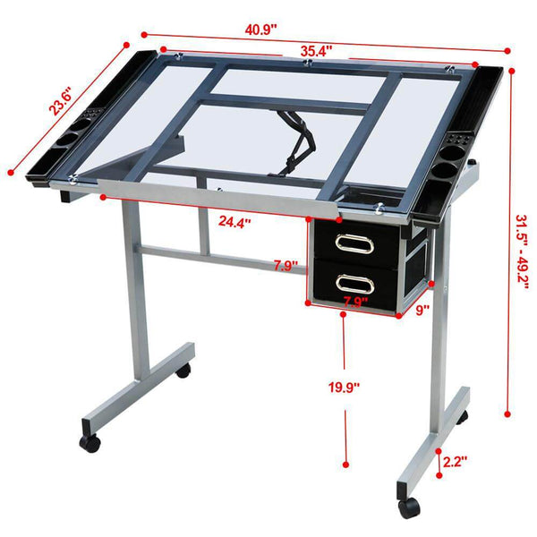 Adjustable Draft Drawing Art Desk Table with Rolling Wheels and Drawers-Costoffs