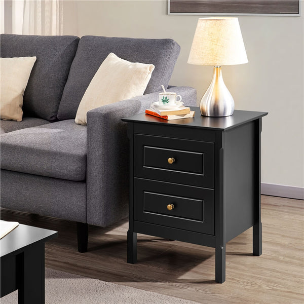Bedside Table Nightstand with 2 Storage Drawers-Costoffs