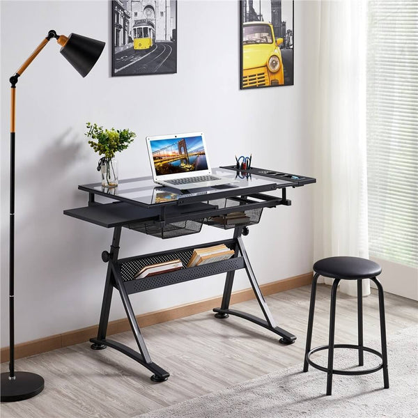Height Adjustable Multifunctional Glass Drafting Table & Stool Set-Costoffs