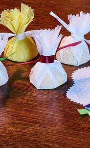 Yellow Muslin Lemon Wraps with Free Ribbon Ties QAR Supplies
