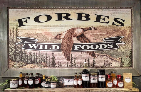 Forbes Wild Foods display shelf table products