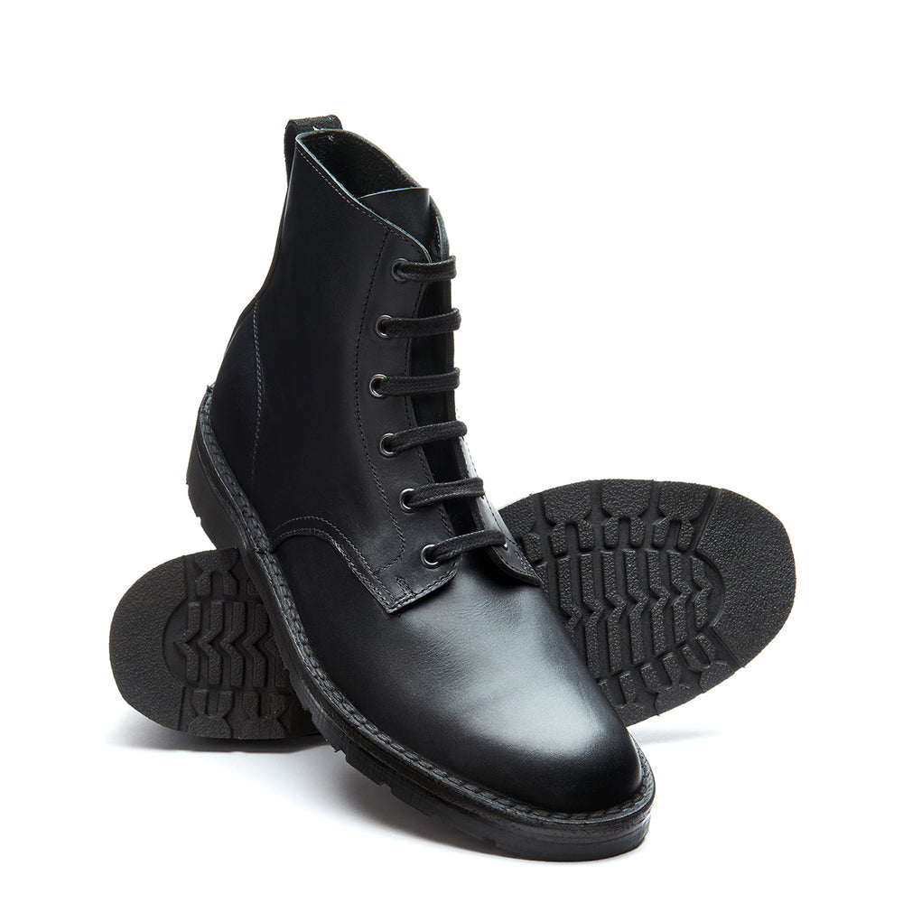 Black Full Grain 6 Eye Derby Boot