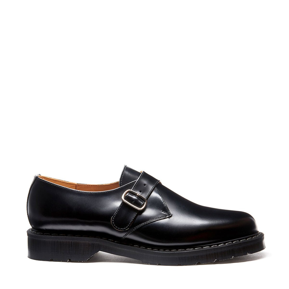 Black Hi-Shine Single Buckle Monk Shoe