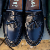 Navy Hi-Shine Tassel Loafer