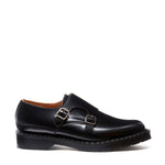 Black Hi-Shine Double Buckle Monk Shoe