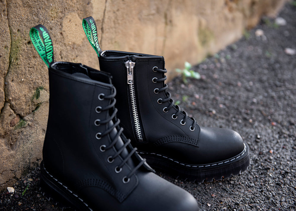 Black Greasy 8 Eye Zipped Platform Derby Boot