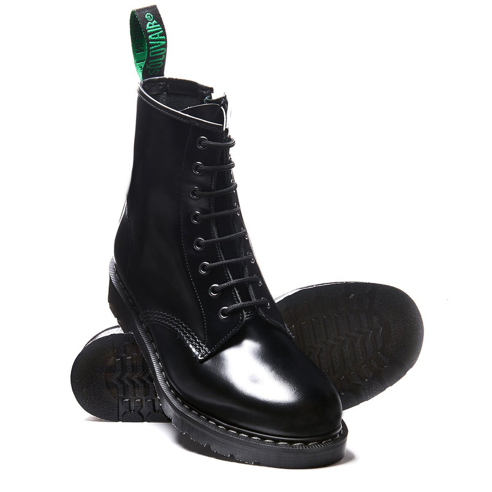 Black Hi-Shine 8 Eye Zip Derby Boot