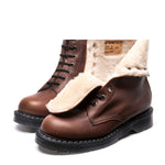 Brown Greasy Shearling Lined 8 Eye Derby Boot
