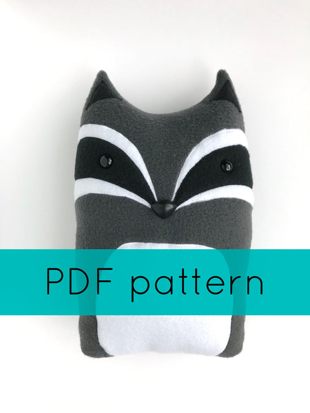 Raccoon Pillow Sewing Pattern