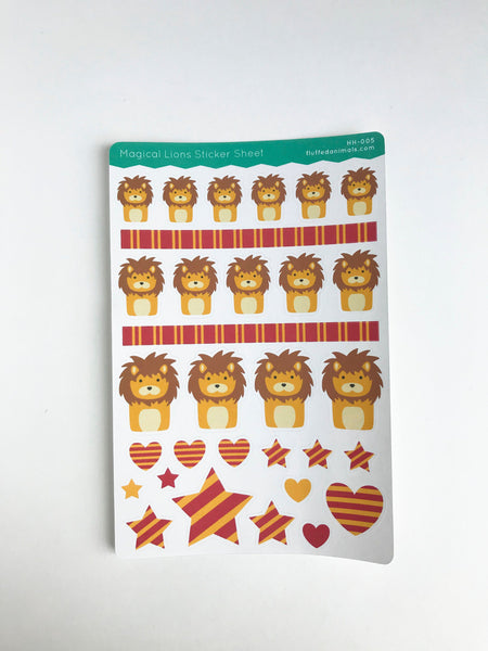 Cute Lion Stickers - Lion Planner Stickers - Magical Friends Collection - HH005