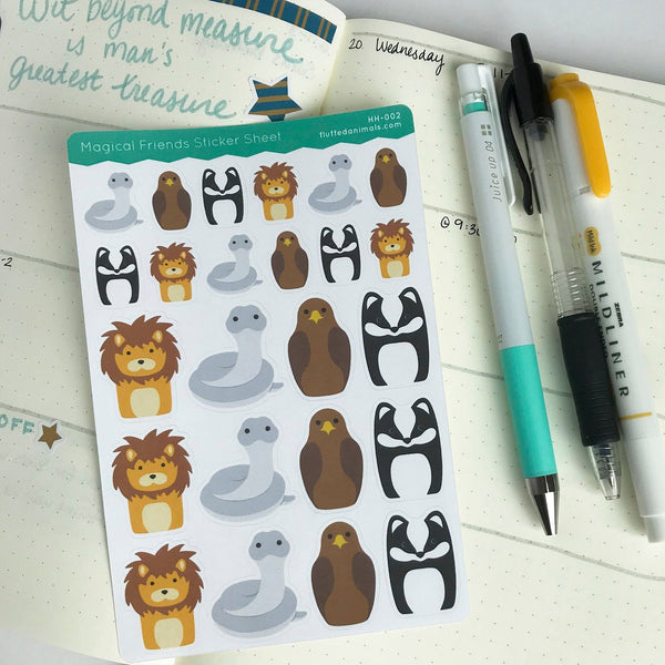 Magical Friends Stickers - Planner Stickers - Lion, Snake, Eagle, Badger - HH002