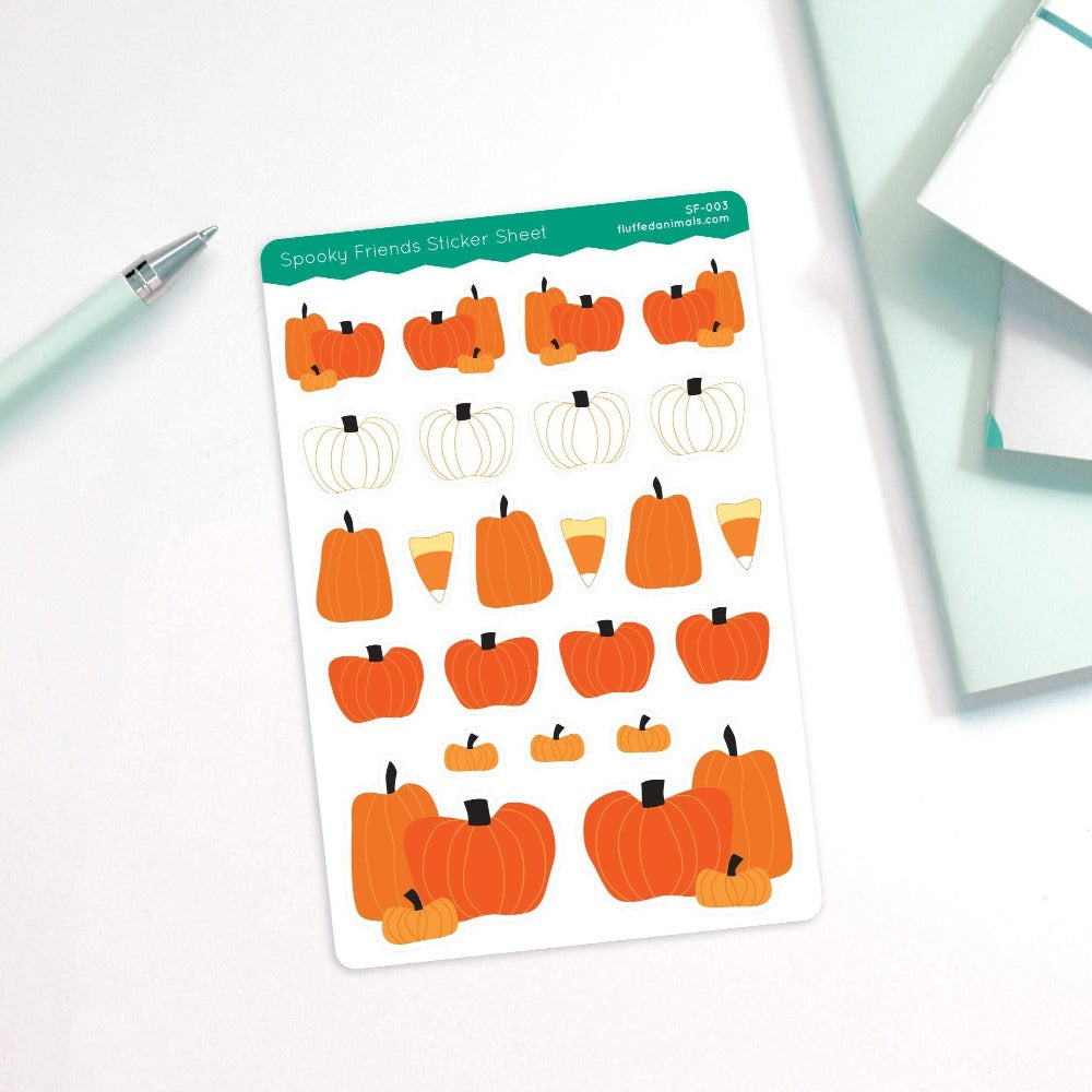 Cute Pumpkin Stickers - Halloween Planning - Planner Stickers - Fall Pumpkins - SF003