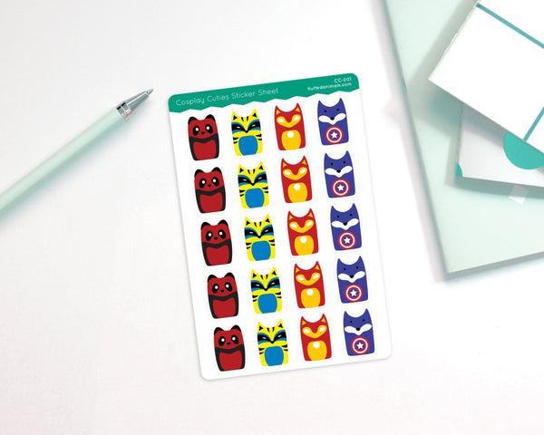 Cosplay Hero Sticker Sheet - Planner Stickers - Superheroes - CC001