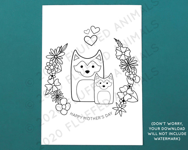 Mother's Day Card with Huskies - Printable Coloring Page - Color Your Own Greeting Card - Print at Home Cards - Husky Mom Card
