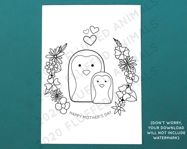 Mother's Day Card with Penguins - Printable Coloring Page - Color Your Own Greeting Card - Print at Home Cards - Cute Penguin Cards