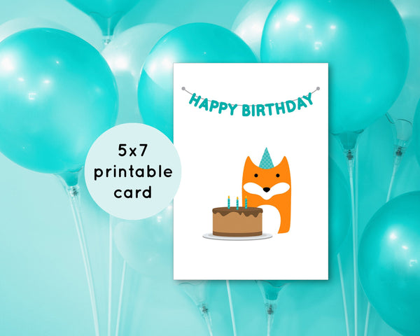 Cute Printable Birthday Card - Print at Home Greeting Card - Downloadable Birthday Cards - Fox with Birthday Cake Card - 5x7 inches