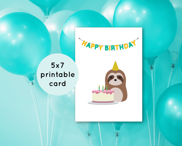 Cute Printable Birthday Card - Print at Home Greeting Card - Downloadable Birthday Cards - Sloth with Birthday Cake Card - 5x7 inches