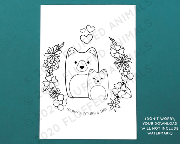Momma Bear Mother's Day Card - Printable Coloring Page - Color Your Own Greeting Card - Print at Home Cards - Cute Bears for Mom