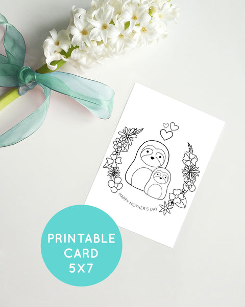 Mother's Day Card - Printable Coloring Page - Color Your Own Greeting Card - Print at Home Cards - Cute Sloth Cards