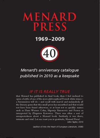 Menard Press 1969-2009: 40th Anniversary Keepsake