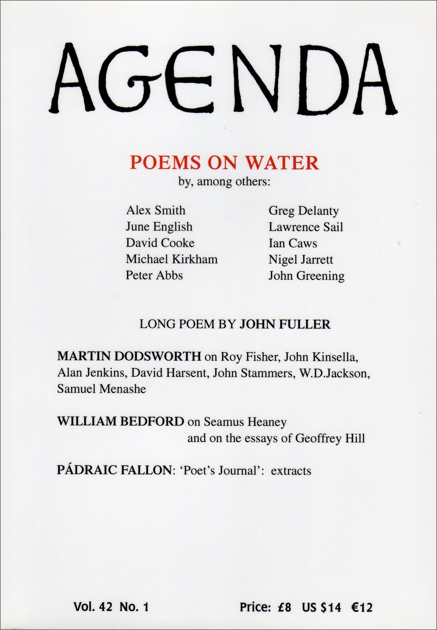 Agenda - Poems on Water