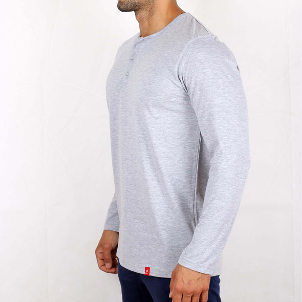 Buttoned Long-Sleeve Cotton T-Shirt