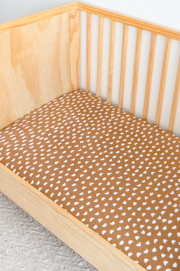 Organic Cotton + Bamboo Fitted Sheets Cot - PEBBLE