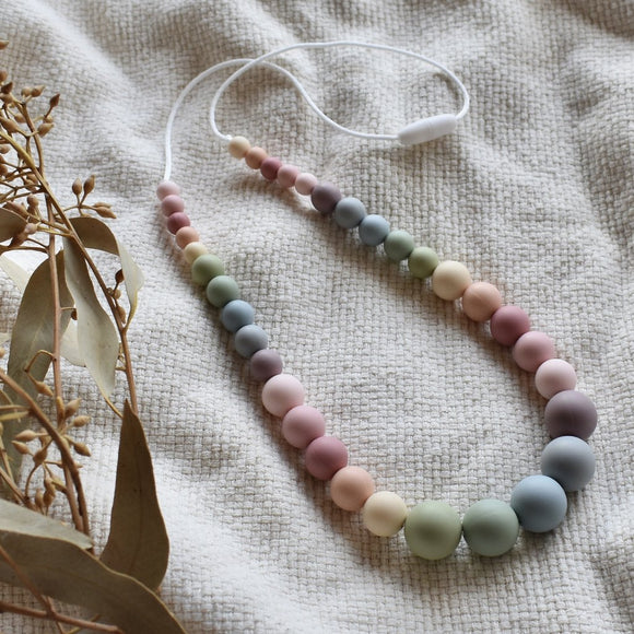 Muted Rainbow Silicone Necklace