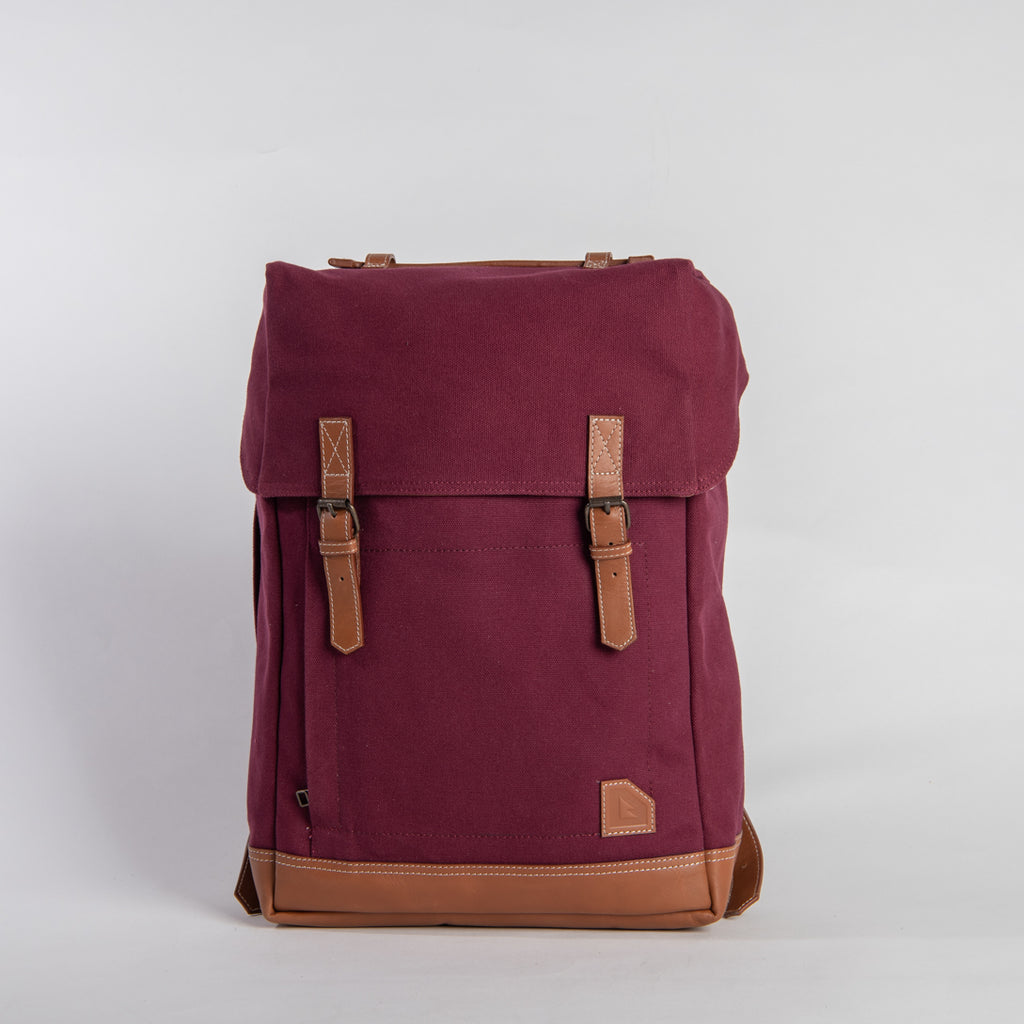 Arniko Backpack Classic Side Zipper Burgundy