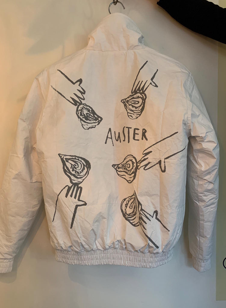Arniko x Gamer Bar Tyvek Jacket Oysters White with Grey Print
