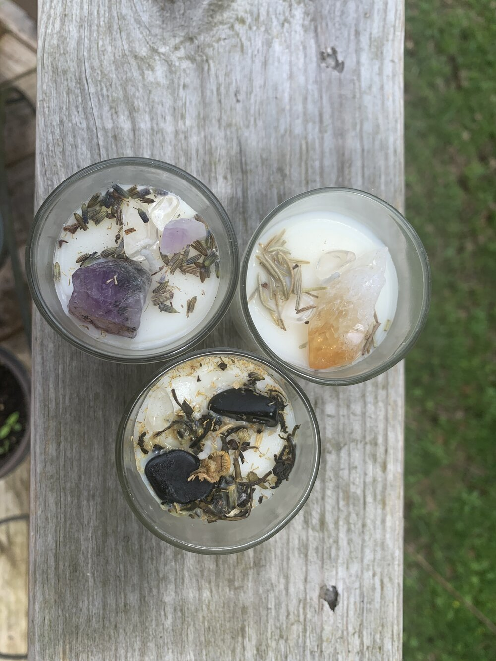 Crystal-infused intention candles